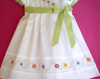 Embroidered White Pique Wrap Dress