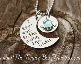 To the moon and back etsy i love you to the moon and back necklace personalized moon and back necklace name pendant mozeypictures Choice Image