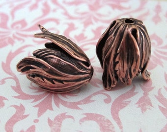 2 Antique Copper Tulip Bead Caps 1698C