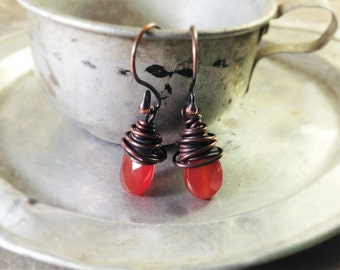 Copper Wire Wrapped Faceted Carnelian Briolette Earrings, Burnt Orange