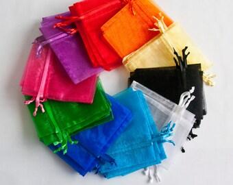 100 Organza Bags, 3x4 inch, multi color jewel tones, 10 colors