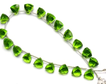 Olive Green Peridot Color Hydro Quartz Faceted 7 to 8MM Approx 3D Trillion Shape Briolette Beads 9 Inch Full Strand Super Fine Quality Beads