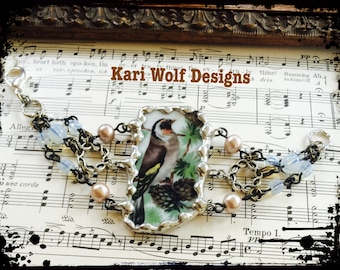 Bird, Cuff, Bracelet, china, Hand soldered, Pinetree, Pinecones, broken china, Assemblage, Wearable Art, Created  By: Kari Wolf Designs