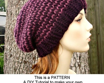 Instant Download Knitting Pattern - Knit Hat Knitting Pattern - Knit Hat Pattern for Toque Beanie Hat - Womens Hat - Womens Accessories