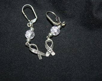 Awareness-Caring-Ribbon-Earrings-bead color your choice