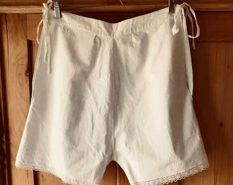 1920s bloomers, knickers, underwear, linen, lace, embroidered initials