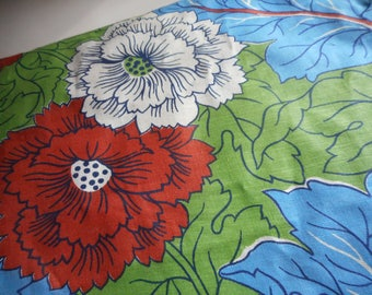 Vintage 1930's, 40's Large Floral Green, Blue, Sienna Cotton Fabric Remnants Lot of 2