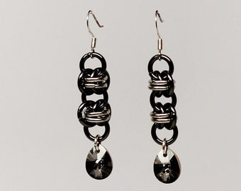 Genuine Swarovski crystal chainmaille earrings (Crystal Silver Night)