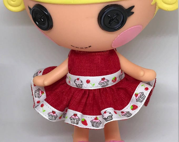Handmade Dress for Lalaloopsy Little Doll // Little Sister // Doll Clothes // Stocking Stuffer // Under 10 // For Girls // Red Cupcake