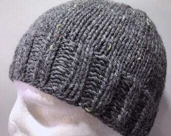 Hand Knitted Grey Merino Angora Silk Skull Cap