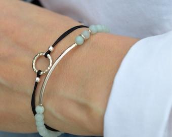 Teal Bracelet Friendship Bracelet Tiny Bracelet  Turquoise Bracelet Elastic Bracelet Amazonite Bracelet Stackable Bracelet