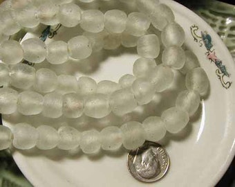 White Recycled Glass Beads - Ghana Africa - 8 pcs. - RCY1214W