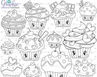 Cupcake Stamps Sweet COMMERCIAL USE Digi Stamp Digital Image Party Digistamp Coloring Page Graphic
