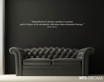 Imperfection is beauty.. Wall Decal, Marilyn Monroe, Quote Wall Sticker, Wall Decor, Bedroom Decor