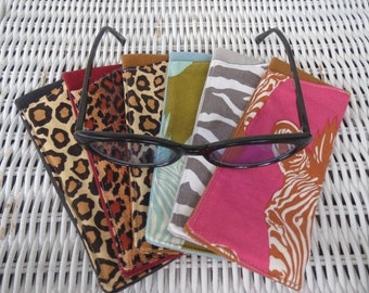Fabric Eyeglasses Cases in Animal Prints, Reading Glasses Pouch, Reader's Pouch, Travel/Purse Accessory, Gift for Grandma, Aunt, Sister, Mom