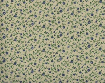 Floral Fabric, Quilters Calicos, Blue Floral Fabric, Blue Fabric, Beige and Blue Flowers, Vintage Reproduction Fabric, 10030