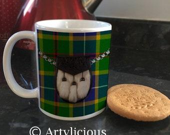 Green tartan Sporran scottish Coffee cup Tea mug