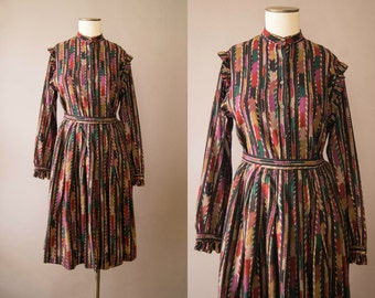 1980s skirt & blouse / 80s Jaeger multicolor wool blouse and skirt / small / Calico Skirt Set