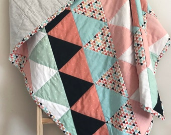 Handmade Baby Girl Triangle Quilt, Blue and Pink, Crib Blanket, Modern Geometric Blanket, Baby Shower Gift
