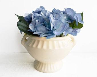 Vintage Large Round Ivory Planter - Grecian Style Jardiniere Flower Pot