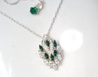 PRISTINE Vintage Art Deco Emerald Rhinestone Pendant Necklace, 1920s Wedding Green Bridal Necklace, Pave Silver Great Gatsby Jewelry Flapper