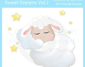 Sweet Dreams Cute Single Digital Clipart for Commercial or Personal Use, Sheep Graphic, Baby Graphic