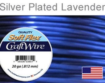 20 Gauge Lavender Silver Plated Wire, Soft Flex, Tarnish Resistant,  Round, Supplies, Findings, Craft Wire