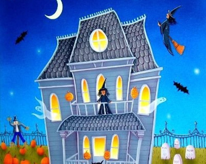 HAUNTED HOUSE Custom Framed Art Print | Halloween Painting | Ghosts, Witches, Bats Print | Halloween Wall Art | Valerie Walsh Art Work