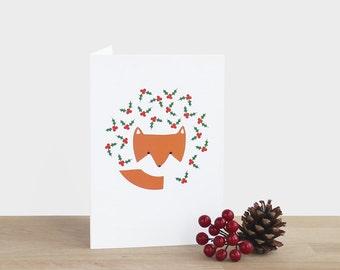 Fox and Holly Christmas  Card - blank festive Christmas holiday season thank you berries tree bush leaf red green orange white