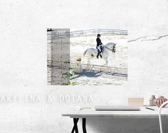 Calendar 2018 dressage horse Photo Wall art Printable A2 A3 Calendar One Page At glance calendar Annual Calendar office decor home