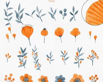 clipart fleurs aquarelle, aquarelle éléments clipart, éléments clipart mariage, graphisme d'aquarelle de fleurs, des cliparts, bricolage de peint à la main