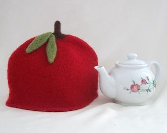 Apple Tea Cozy, Knit Felted Apple Red Tea Cozy ,Felted Boiled Wool Tea Cosy, Retro Felted Tea Cosy,    Handmade Felted Tea Cozy