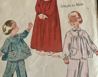Adorable Vintage 1950's  Child's Pajamas or Nightgown Pattern---Simplicity 3376---Size 4 Breast 23