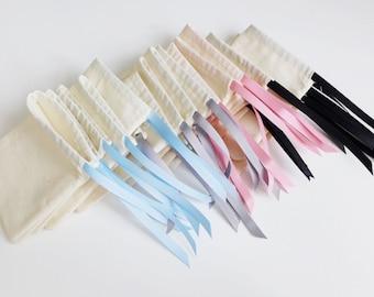 Medium - plain cotton pouches with custom ribbon