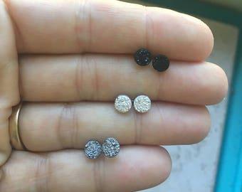 Tiny Druzy Earrings 6mm, Tiniest Round Druzy Studs, Metallic Glitter Faux Drusy Posts Glittering, Stainless Steel