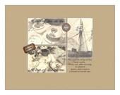 Tea Gift Card Cup of Tea Note Card Digital File 3 Victorian Steampunk Tea Service Sail Mast Ship Affix Tea Bag Here Stationery Gift Card