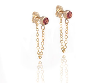 Stone and Chain Earrings - Garnet Gemstones - 14k Gold Filled - Dangling Earrings - Stud and Chain