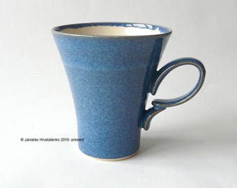 BLUE COFFEE MUG Valentine Gift for Him Gift for Her Mug for Tea / Coffee Certified Artist Made Stoneware Ready to Ship Handmade Pottery Gift