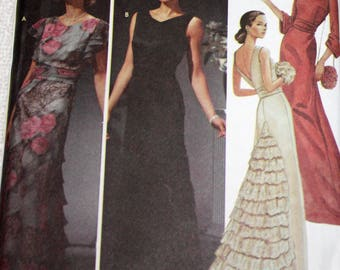 UNCUT, Simplicity 5876, Sewing Pattern, Misses', Size 14-16-18-20, Evening, Prom, Dress, With Ruffle and Sleeve Variations, Cummerbund, Bag.