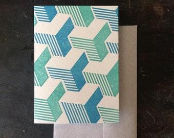 Tumbling Blocks Letterpress Notecard - Blue & Green