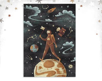 A4 / A3 Astronaut art print • Space illustration • Night sky • Wall Art • Illustrated Print • Poster • Vintage style • Kids Room Decor
