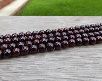 6mm 8mm 10mm Natural Garnet Round Beads, 10 pcs or strand, for bracelet, mala, diy wholesale bulk gemstone beads January Birthstone