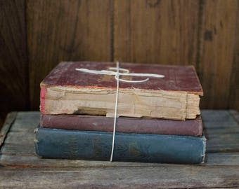 Vintage Book Bundle French Country Book Decor, vintage books, decoative book binding, book decor, rustic wedding, rustic decor