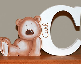 Wooden letter with teddy bear. Freestanding letter for baby room.