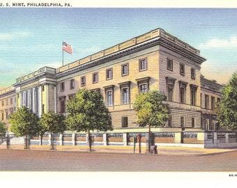 Vintage Linen Postcard....Pennsylvania, Philadelphia, U. S. Mint...Unused...no. PA0034
