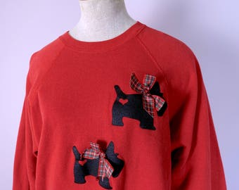 80s Novelty Sweatshirt in Scotty Dogs- Vintage  1980s- Red, Black, Tartan Plaid- Punk New Wave- Large- Hearts & Bows Preppy Embellished