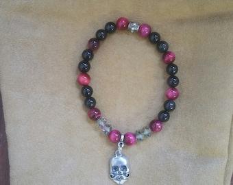 Beaded Skull Charm Bracelet