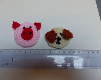 set of six farm animals applique crochet