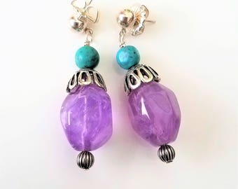 Carolyn Pollack Relios Sterling Silver Amethyst Turquoise Dangle Earrings