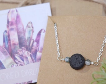 Black Lava Stone Aromatherapy Gemstone Necklace for Essential Oils
